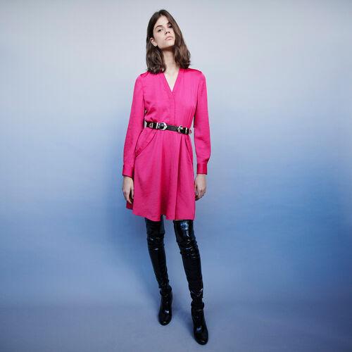 Vestito in satin elasticizzato in vita : Vestiti colore Fucsia