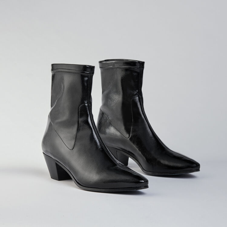 Heeled stretch vinyl booties : Stivali e Stivaletti colore Nero