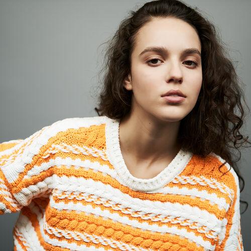 Pull oversize in maglia bicolore : Maglieria colore Multicolore
