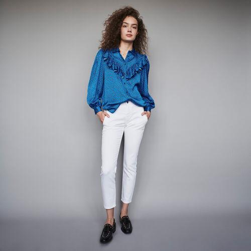Camicia in satin stampata con volant : Collezione Inverno colore Blu