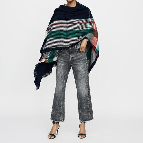 Poncho in maglia jacquard : Scialli & Poncho colore Multicolore