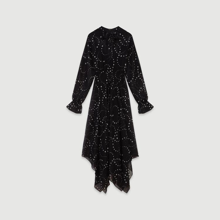 Vestito-foulard in mousseline stampato : Vestiti colore Nero