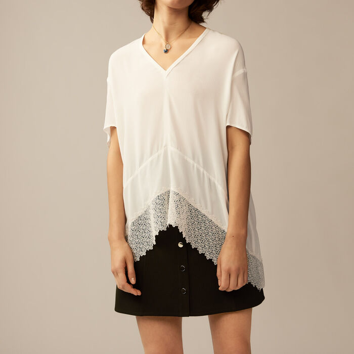 Top oversize con merletto : Tops colore Ecru
