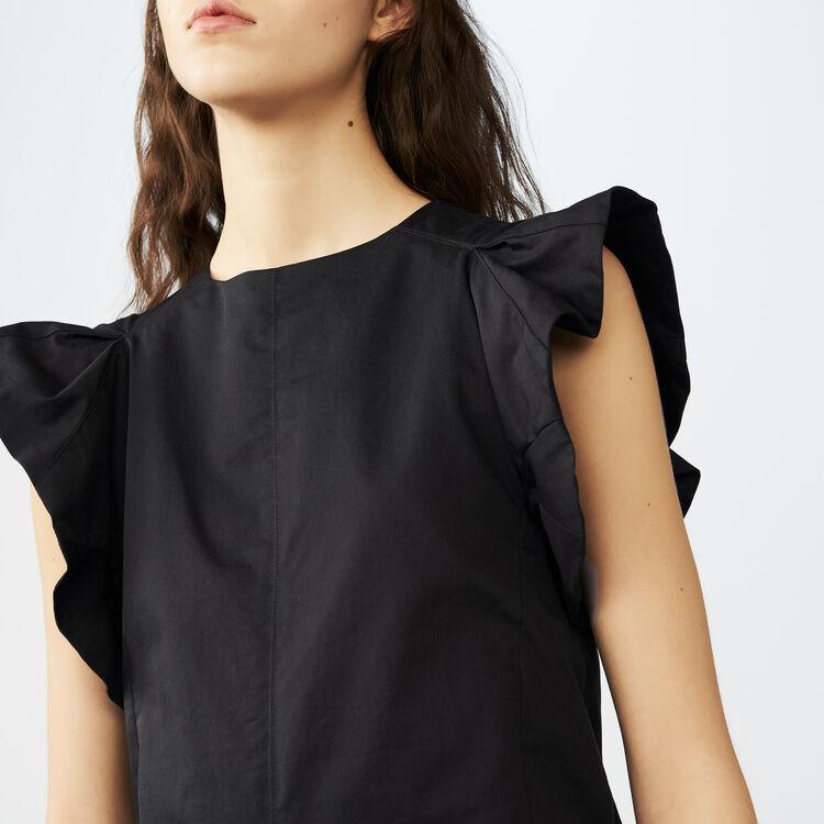 Top con volant in tela di cotone : Tops colore Nero