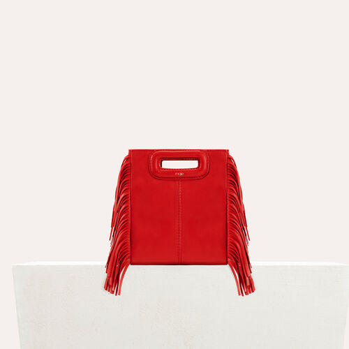 Mini borsa M con frange in pelle : Special occasion colore RED