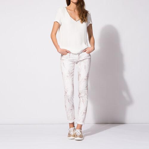 Jeans slim in cotone stampa marmorizzata : Pantaloni & jeans colore Stampato