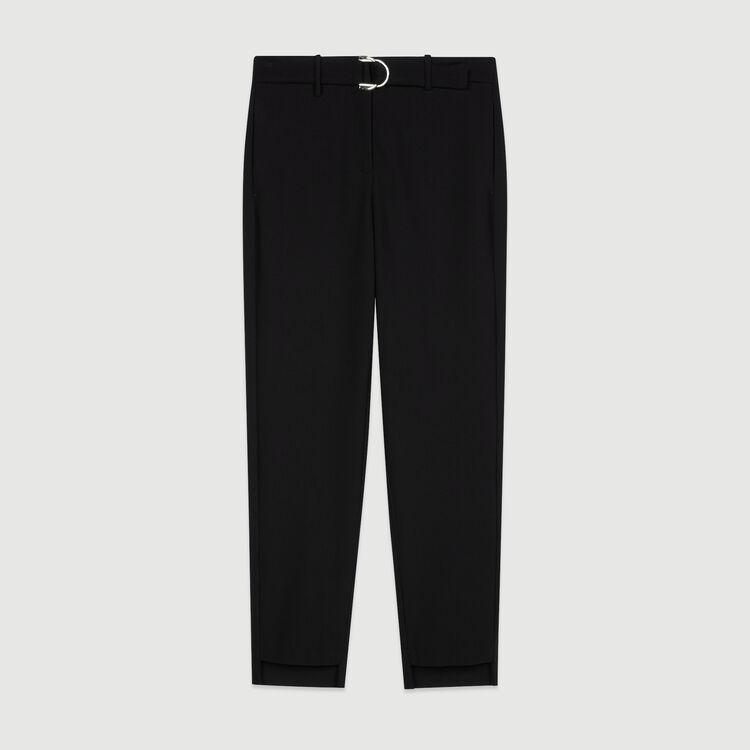 Pantalone dritto con cintura : Pantaloni e Jeans colore Nero
