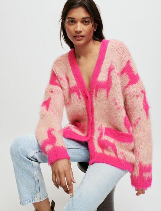 Cardigan mohair spazzolato motivo lama : Pullover e cardigan colore Rosa