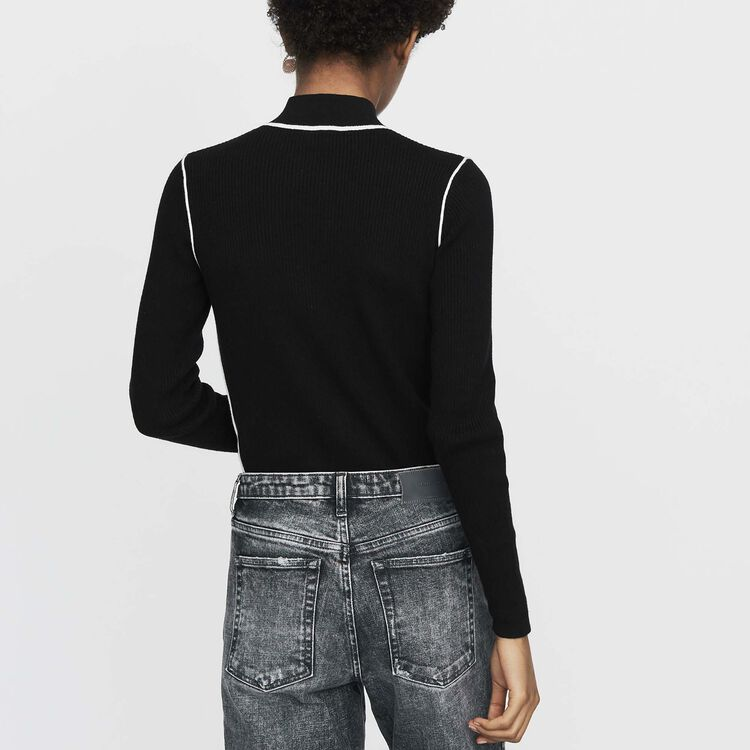 Pull con collo camionista in maglia : Maglieria colore Nero