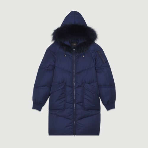 Piumino lungo con pelliccia : Cappotti colore Blu Marino
