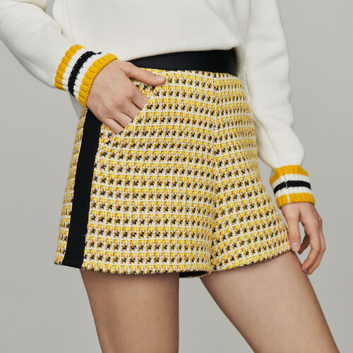 Pantaloncini in tweed e lurex : Gonne e shorts colore Giallo