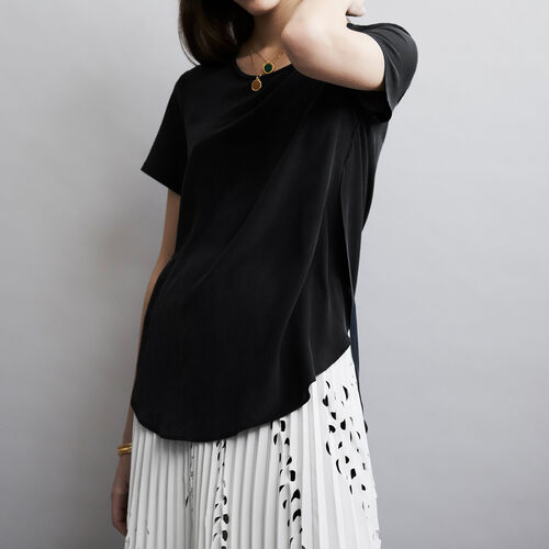 Round neck silk top : Tops colore Nero