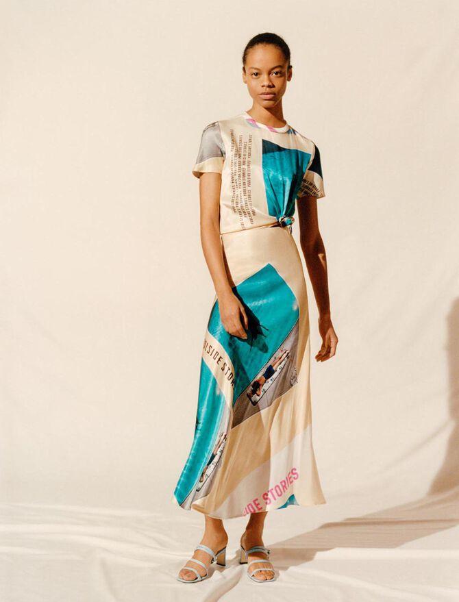 Abito foulard annodato in raso stampato - Vestiti - MAJE