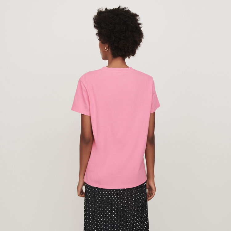 Tee-shirt con maniche corte ricamata : T-Shirts colore Rosa