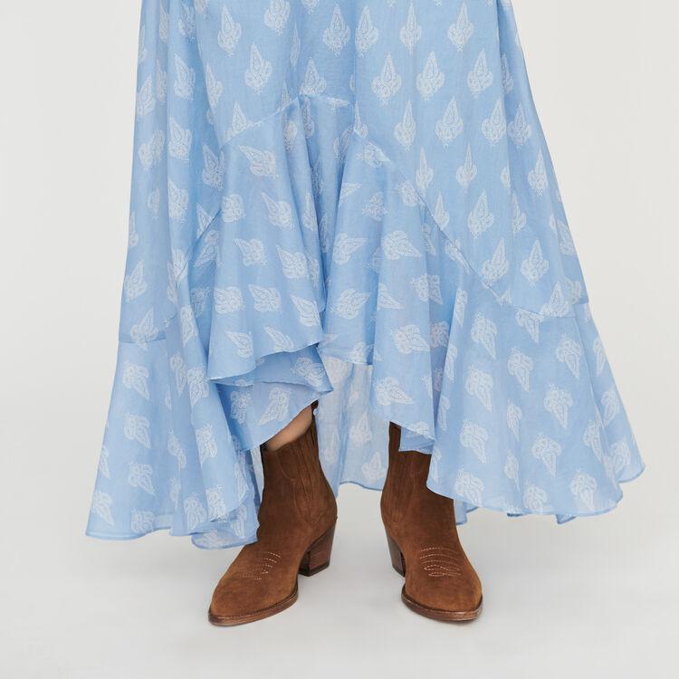 Gonna lunga stampata con volant : Gonne e shorts colore Blu