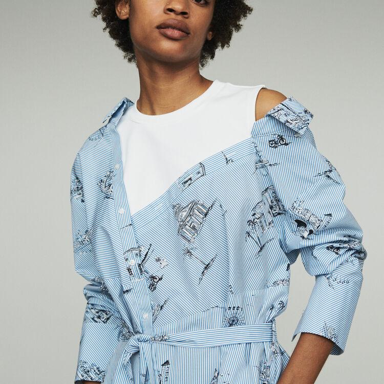 Scamiciato trompe-l'œil stampato : Vestiti colore Blu