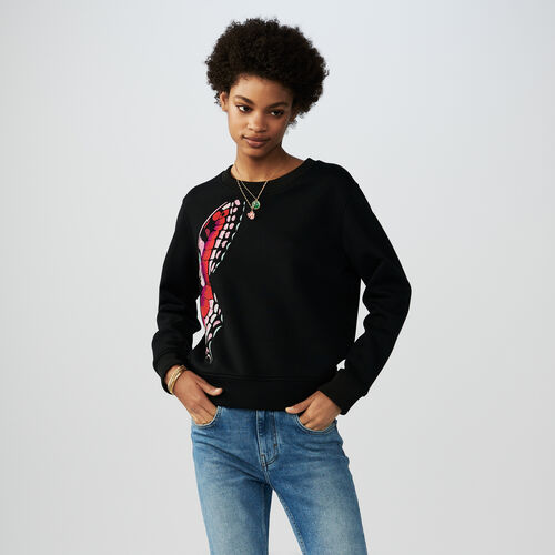 Felpa in cotone con ricami : Sweatshirts colore Nero