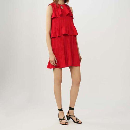 Vestito plissettato con volant : Vestiti colore ROUGE