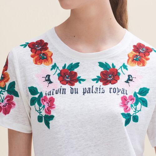 T-shirt con ricami : T-shirts colore Ecru