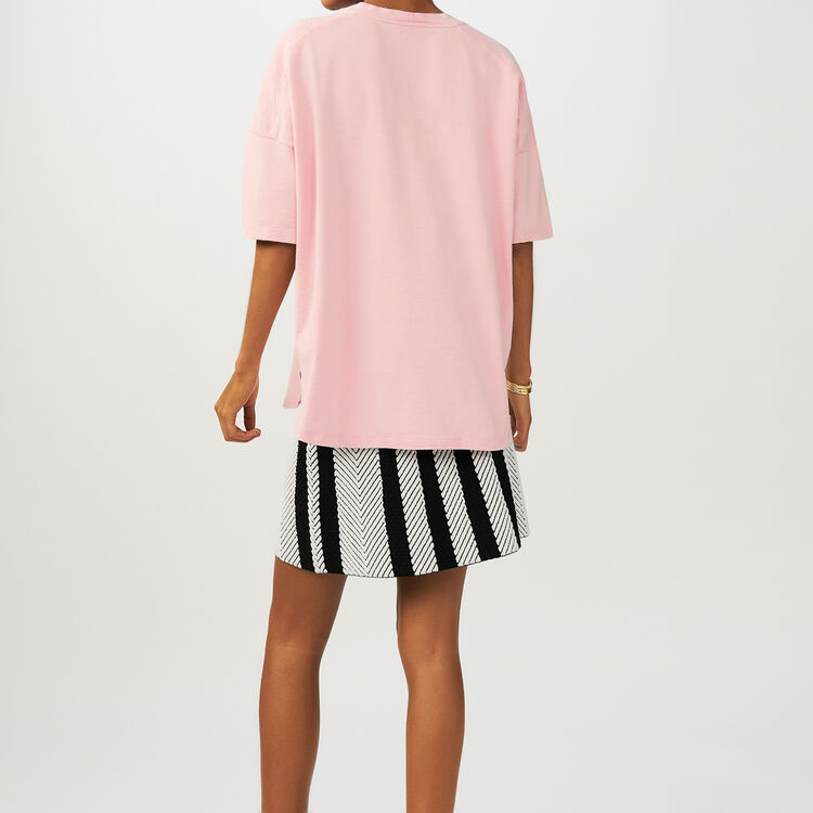 Tee-shirt oversize con ricami : T-Shirts colore Rosa