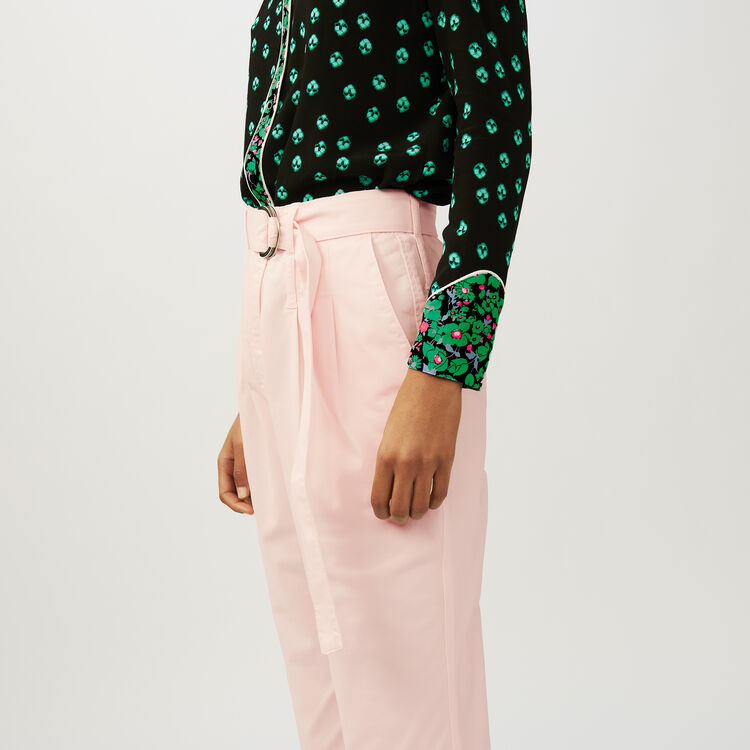 Pantaloni a carota con cintura : Pantaloni colore Rosa Tenue