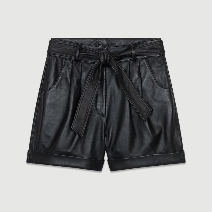 Pantaloncini larghi in pelle : Gonne e shorts colore Nero