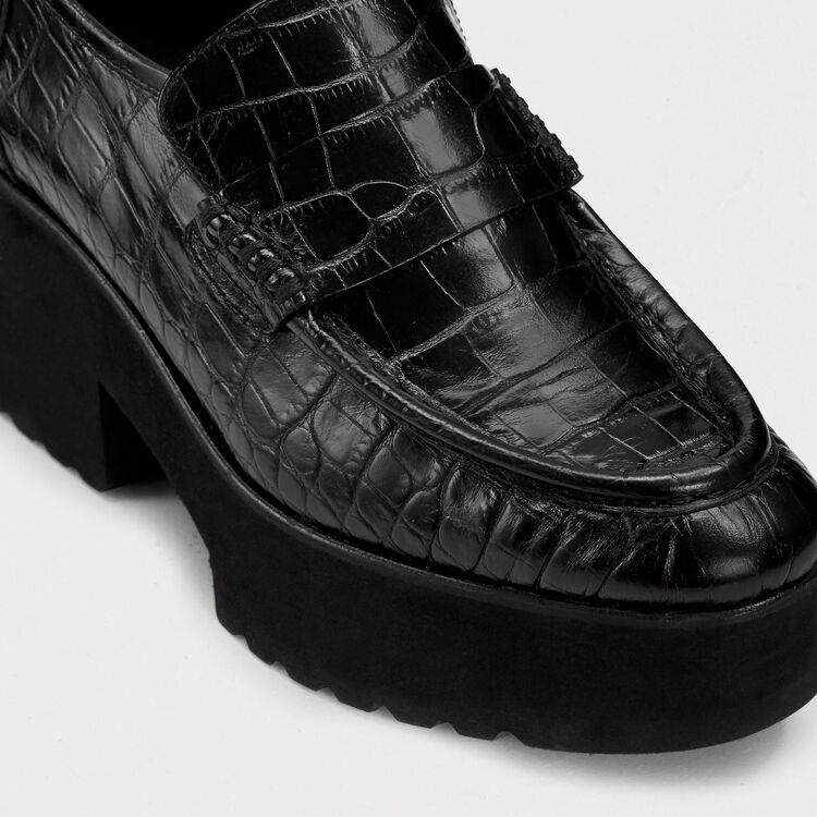 Mocassini in cuoio effetto coccodrillo : Scape basse colore Nero