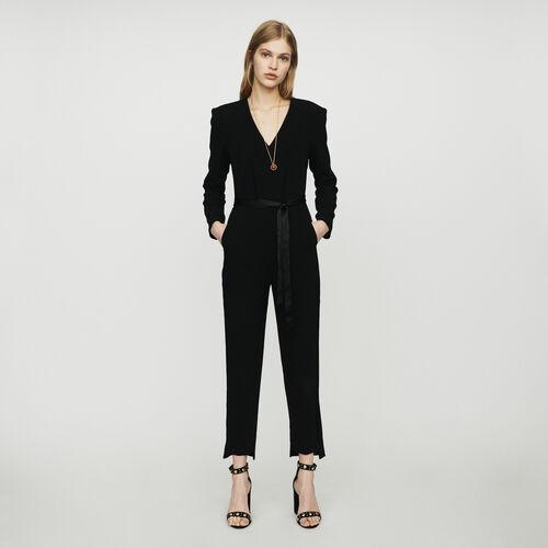 Tuta pantalone in crêpe : Pantaloni e Jeans colore Nero