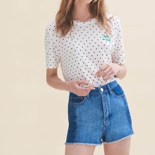 T-shirt ricamata Lunerdì : T-shirts colore Bianco
