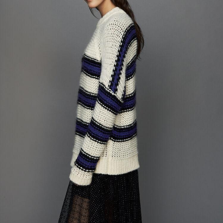 Pull oversize in maglia tricolore : Maglieria colore Violetto