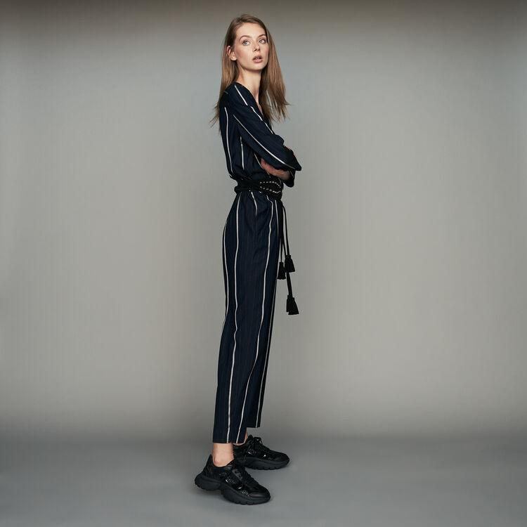 Tuta pantalone a righe : Pantaloni colore Blu Marino