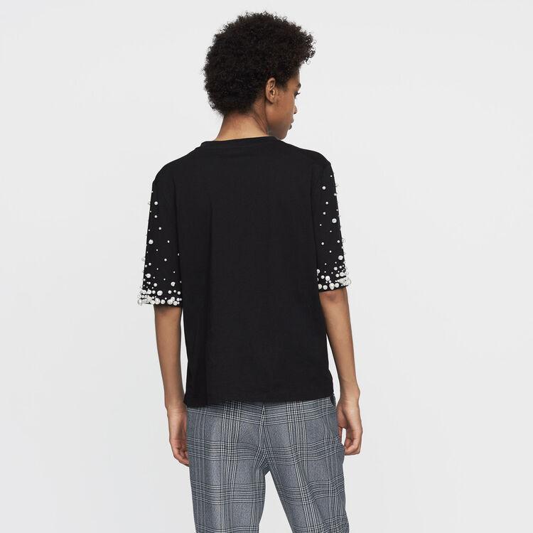 Tee-shirt in cotone con perle : T-Shirts colore Nero