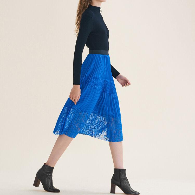 Gonna plissettata con pizzo : Gonne e shorts colore Blu