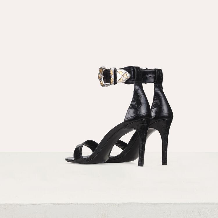 Sandali con tacco in pelle : Nuova collezione colore Nero