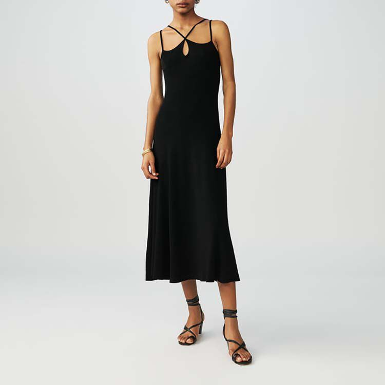 Vestito lungo in maglia con bretelle : Vestiti colore Nero