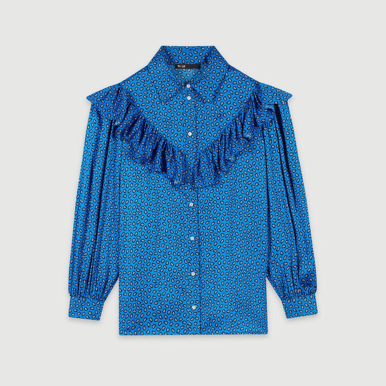 Camicia in satin stampata con volant : Tops e Camicie colore Blu