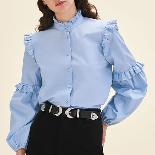 Camicia in popeline con volant : Camicie colore Blu