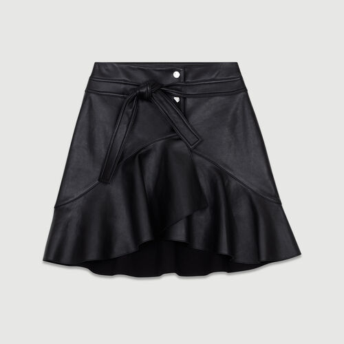 Gonna asimmetrica in pelle : Gonne e shorts colore Nero