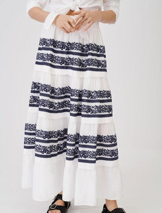 Gonna interamente ricamata : Gonne e shorts colore Blu Marino