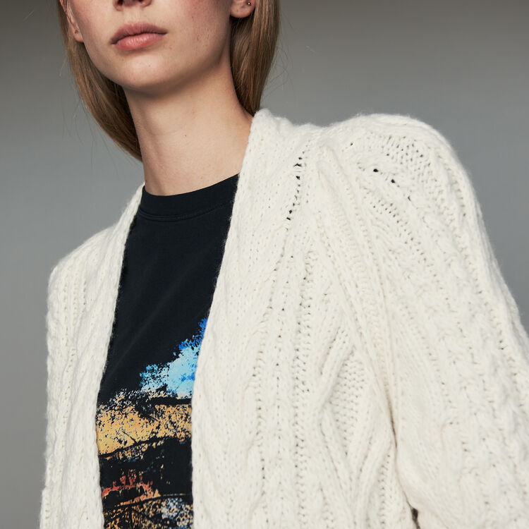 Cardigan oversize in maglia a trecce : Prêt-à-porter colore ECRU