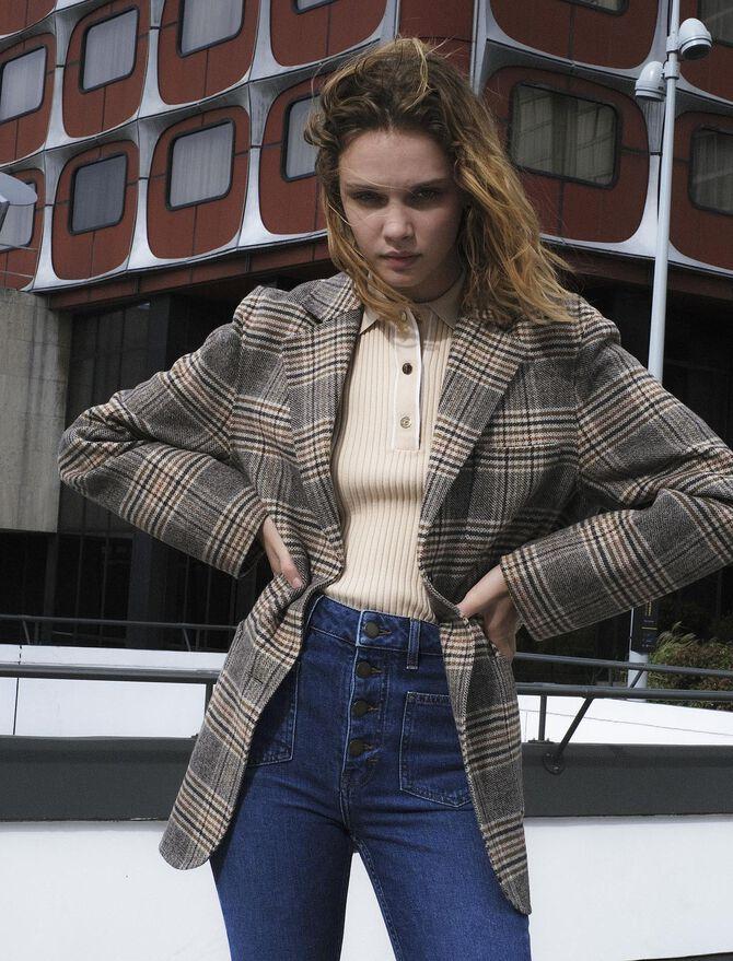 Cappotto stile giacca a quadri -  - MAJE