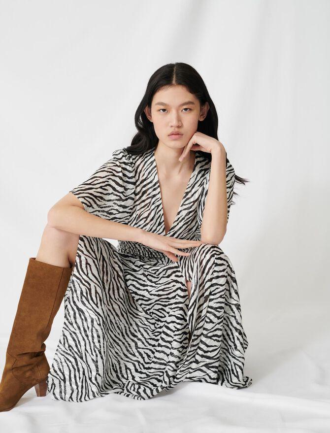 Abito lungo in jacquard lurex zebrato - Vestiti - MAJE
