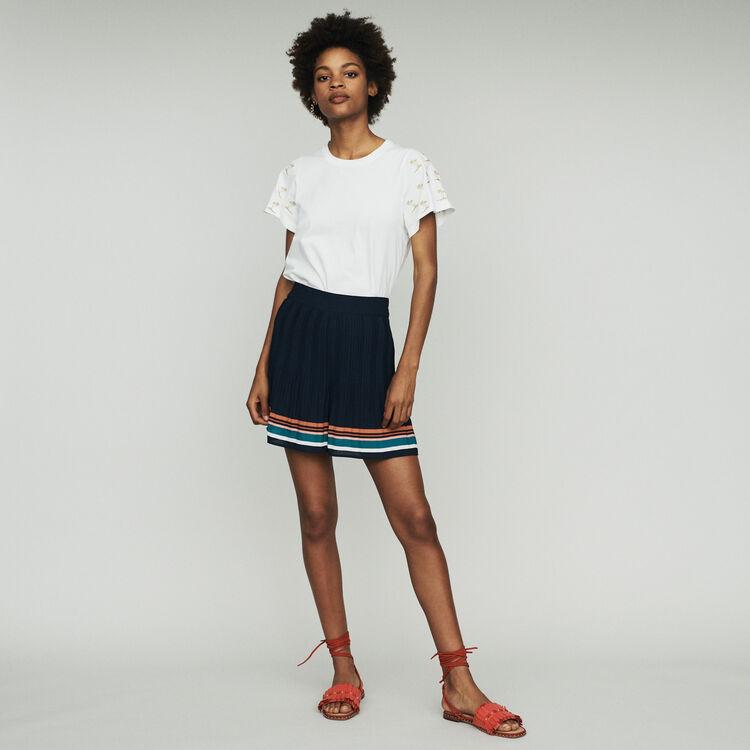 Tee-shirt con maniche ricamate : T-Shirts colore Bianco