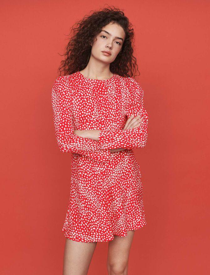 Vestito arricciato in  jacquard stampato - -30% - MAJE
