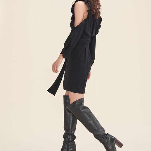 Abito stampato in crêpe, spalle scoperte : Vestiti colore Nero