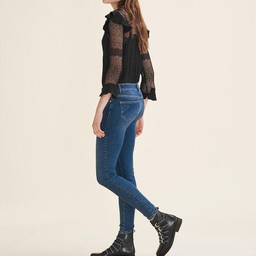 Jeans slim délavé : Jeans colore Blu