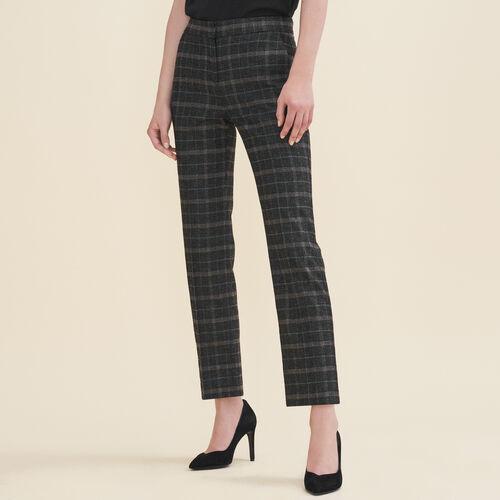 Pantalone a sigaretta in tartan : Pantaloni colore Jacquard