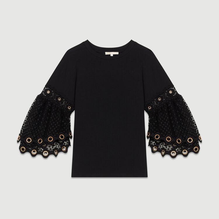Tee-shirt con maniche in guipure : T-Shirts colore Nero