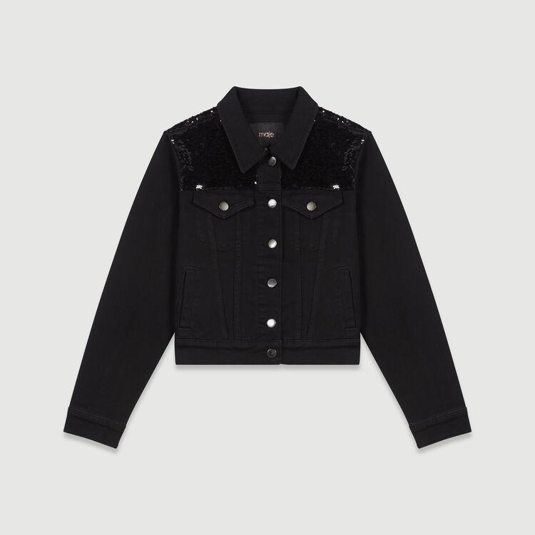 Giacca di jeans con paillettes : Cappotti e Giubbotti colore Nero