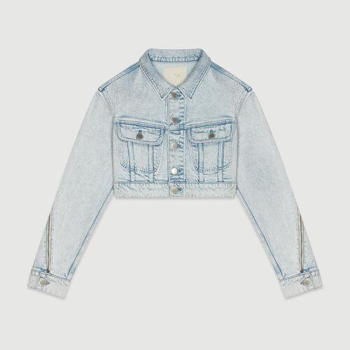 Giacca corta in jeans delavè : Giacche colore Denim